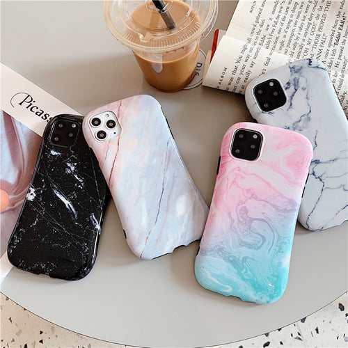 Fashion Simple Marble Case For iPhone Series