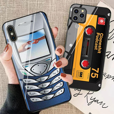 Fashion Retro Glass Game Camera Case For iPhone Series