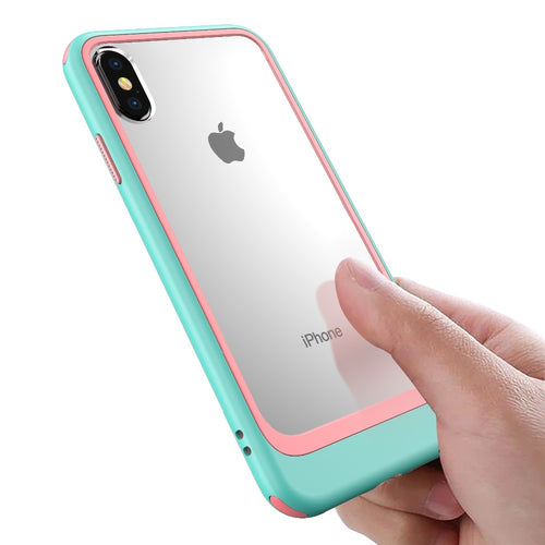 Hit Color 2 in 1 Combo Clear Acrylic Armor Protection Case For iPhone Series