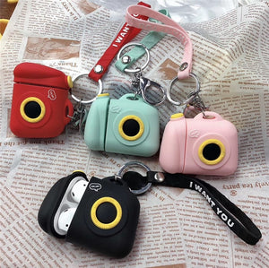 Cute Camera Bottle Case With Keychain For AirPods