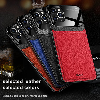 Luxury PC Grained Leather Case For iPhone Series