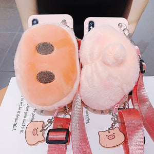 3D Cute Pig Nose Pig Ass Case With Wallet + Lanyard For iPhone Series