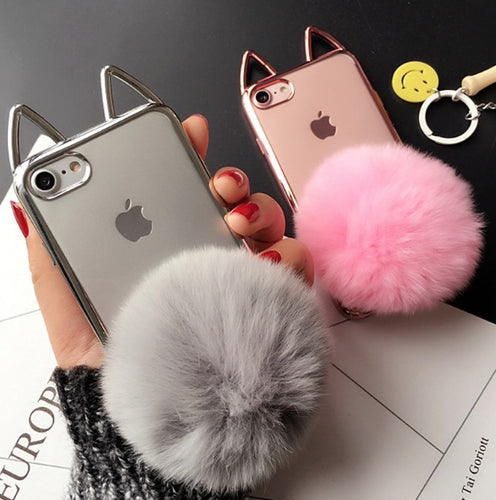 New Fashion Deluxe Plating Lovely Cat Ears Fluffy Ball Case For iPhone 6-X | VIVITODAY
