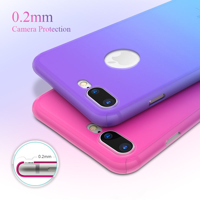 Gradient Candy Color Full Protective Case with Glass Film for iPhone Series