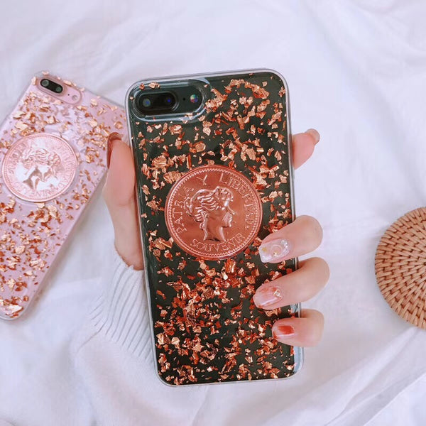 Fashion Glitter Shining Sequins Gold Coins Foil Case For iPhone Series