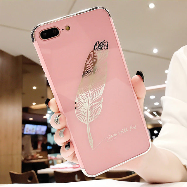 Luxury Quill Pen Drop Mirror Pink Soft Cover Case for iPhone 6 6S S plus 7 7plus 8 8plus X 10 | VIVITODAY