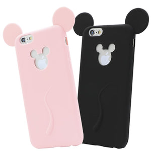 82b0761da46 Candy Colors Cute 3D Soft Mickey Mouse Ear Silicone Cartoon Covers for  iPhone 7 7Plus 6