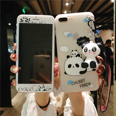Cute Panda Case + Tempered Glass + Toy Holder Strap for iPhone 6-8 Plus | VIVITODAY