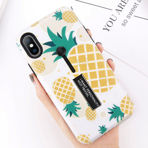 Fresh Pineapple Strawberry Cactus Case With Hide Ring Stand Holder For iPhone Series