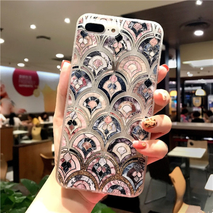 Bling marble pattern quicksand case for iphone 6-XS Max XR