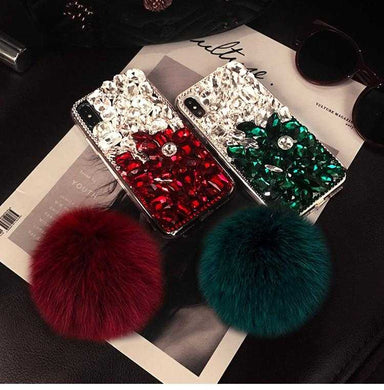 Luxury Bling Crystal Rhinestone with Plush Ball Tassel Case for iPhone 5-XS | VIVITODAY