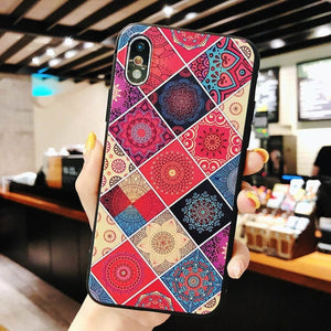 Multi-Color Flower Rhombus Pattern Case Case For iPhone Series
