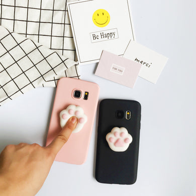 Cute 3D Squishy Cat Paw Case For Samsung Galaxy Series