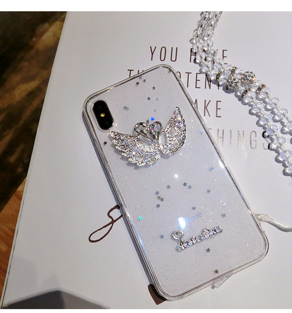 Bling Crystal Swan Case with Strap For iPhone Xsmax-6 | VIVITODAY
