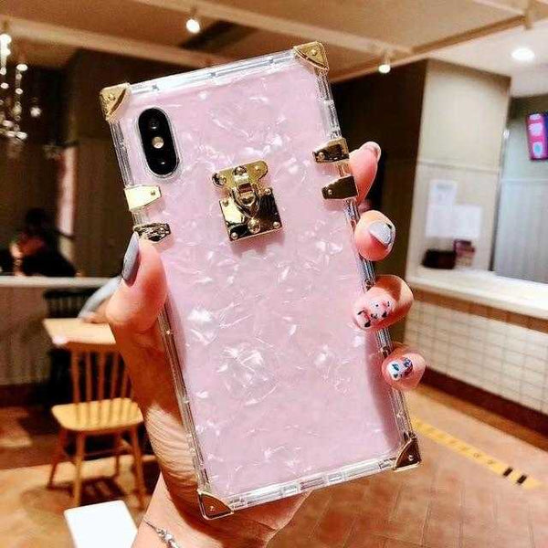 Square Luxury Bling Metal Conch Pink  TPU Case for iPhone 6-XS MAX | VIVITODAY