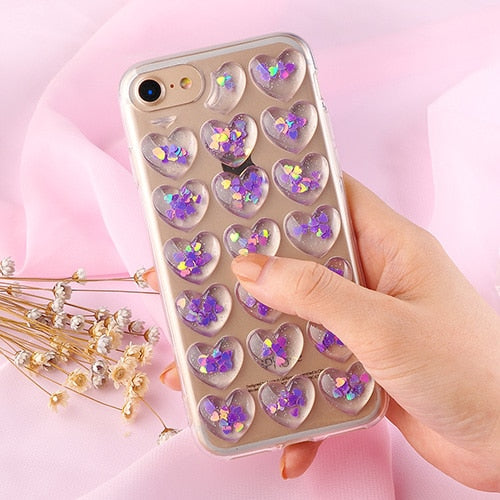 Love Heart Capsule Glitter Sequin Transparent Case For iPhone Series
