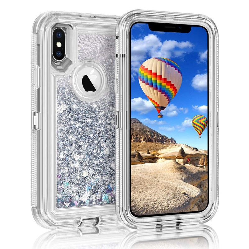 360 Full Protection 3 in1 TPU Clear Quicksand Case For iPhone XS Max-6 | VIVITODAY