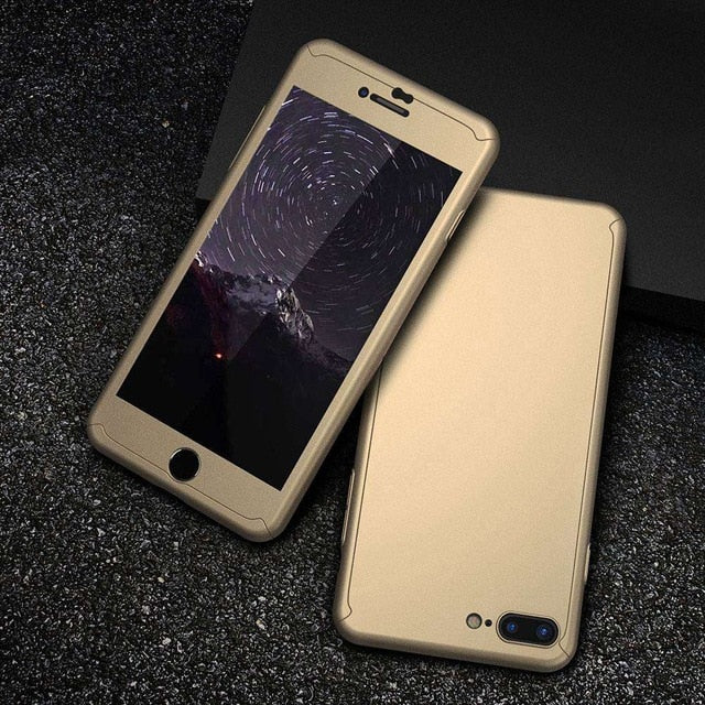 Luxury Modern 360 Full Protection Tempered Glass Film Case For iPhone Series