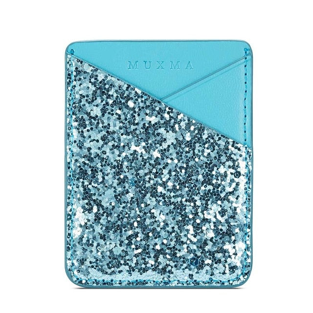 Bling Sequins Leather Card Holder Sticker For iPhone 6-XS Max XR Samsung S6-9 Note 8-9