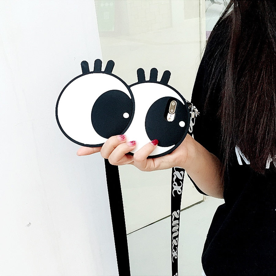 Fashion Cute 3D Eyes Case With Shoulder Strap For iPhone Series