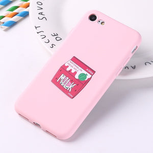 Matte Strawberry Watermelon Milk Banana Juice Soft Silicone Case For iPhone 6 - XS Max
