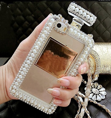 Diamond Crystal Pearl Perfume Bottle Case With Bag Chain For iPhone Series