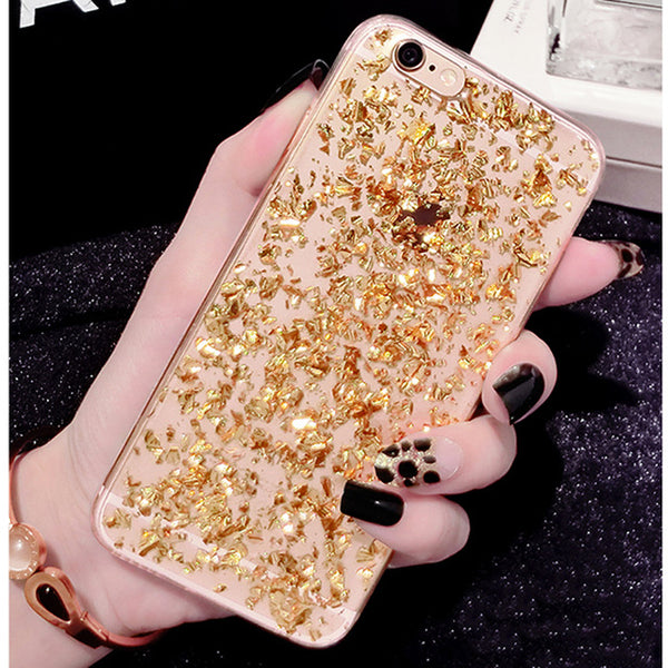 Glitter Gold Silver Foil Clear Case for iPhone 5-XS Max XR