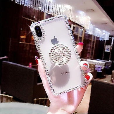 Luxury Airbag Handle Bracket Rhinestones Diamond Glitter Case For iPhone 6-XS MAX