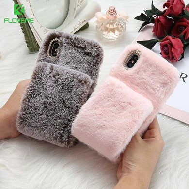 Bling Diamond Furry Wristband  Warm Fur Luxury Case For iPhone 6 - XS Max | VIVITODAY