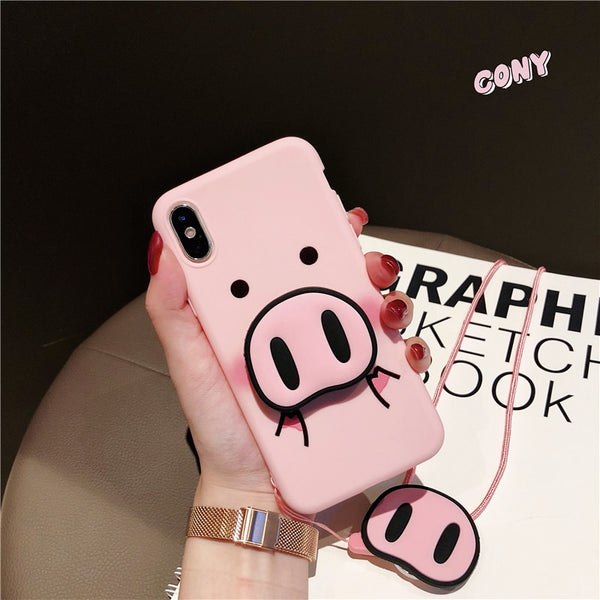 Pink Silicone Cute Peppa Pig Lanyard Stand Holder Case For Iphone 6