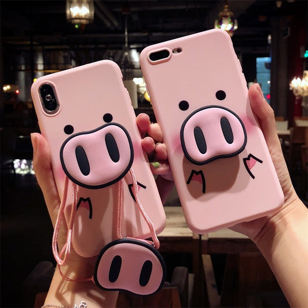 Funny Pig Nose Case With Holder + Lanyard For iPhone Series