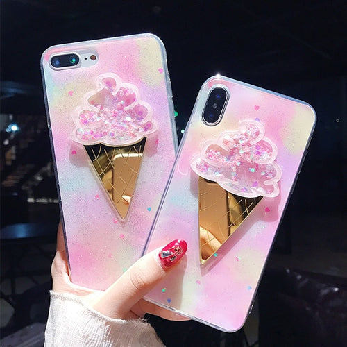 Fancy Candy Color Quicksand Ice-cream Case for iPhone 6-XS Max XR