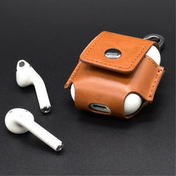 Leather Anti Lost Protective Cover With Hook Keychain For AirPods charging Case