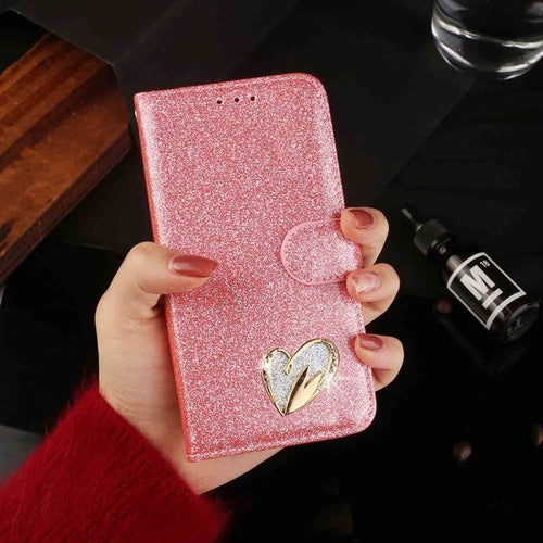 Glitter Luxury Leather Rhinestone Flip Case For iPhone Series