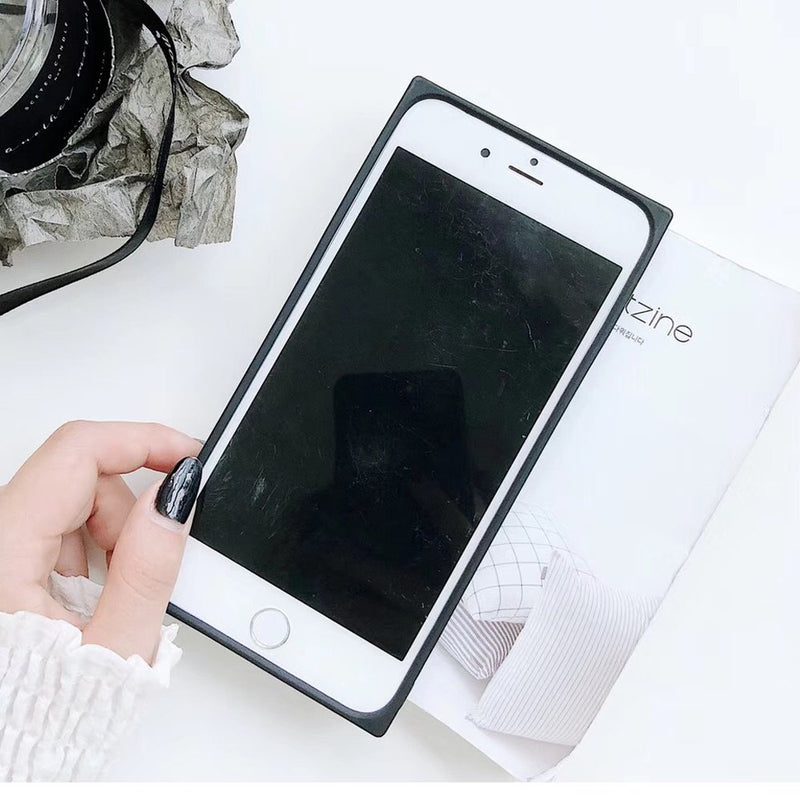 Makeup Mirror TPU Side+PC Back Cover + Tempered Glass Square Case For iPhone 6 - XS MAX