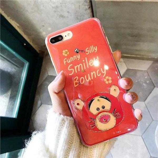 buy popular 26392 ff1b6 Luxury Gradient Diamond Winnie and Tigger Case For iPhone 6-Xsmax