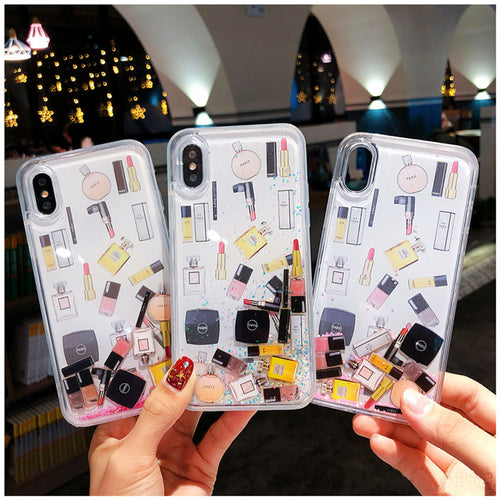 Quicksand Floating Makeup Accessories Case for iPhone 6-XS Max XR