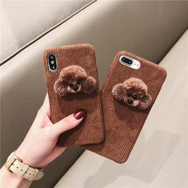 Chocolate Brown Fluffy Dog Corduroy Cloth Cases For iPhone Series