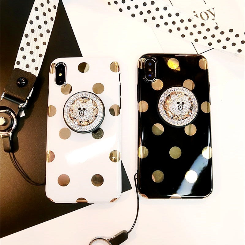 Rhinestone Bear Wave Point Airbag Bracket Case With Strap For iPhone Series