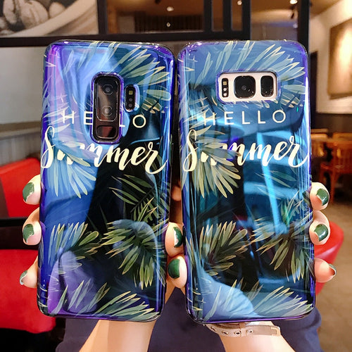 Blue Ray 3D Relief Tropical Leaves Case For Samsung Galaxy S7-S9 plus Note 8-9 | VIVITODAY