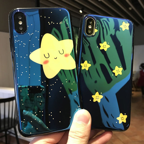 Blue Ray Lovely Yellow Stars Starry Sky Case For iPhone 6-X | VIVITODAY