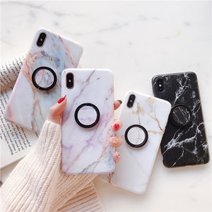 Fashion Marble Case With Holder For iPhone Series