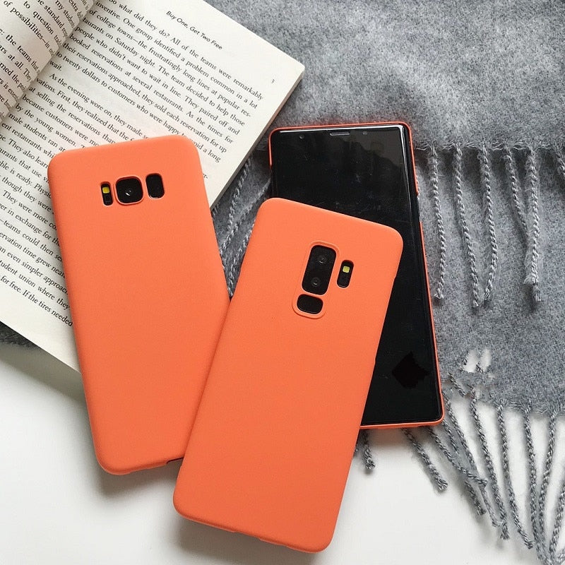 Fashion Orange Pure Color Hard PC Case For Samsung Galaxy Series