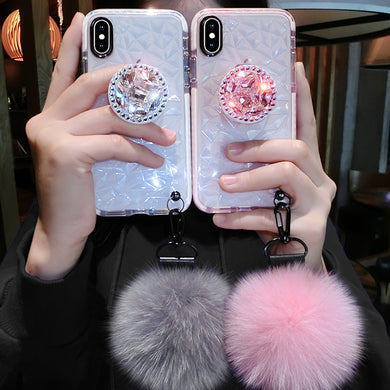Luxury Clear Case with Fluffy Pompom for iPhone XS MAX-6 | VIVITODAY