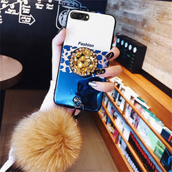 Luxury Leopard Skin Glitter Rhinestone Plush Lanyard Case For iPhone 6-XS Max XR | VIVITODAY