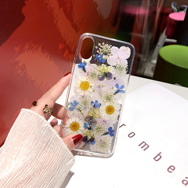 Beautiful Preserved Flower DIY Dried Pressed Real Flower Case For iPhone Series