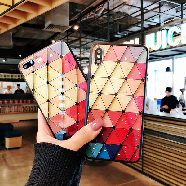 3D Geometric Diamond Colorful Case For iPhone 6-XR XS Max