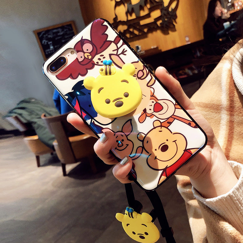Blu-ray Cute Winnie Monsters Case+Stand+Strap For iPhone 6-XS max | VIVITODAY