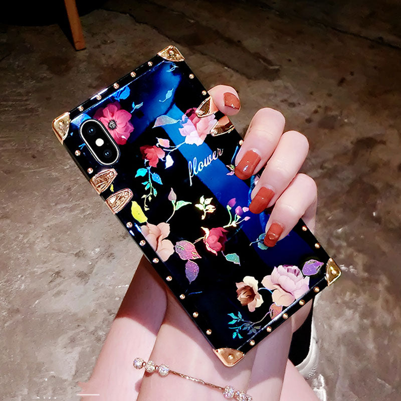 Luxury Blu-ray Flower Silicone Back Case for iPhone Series