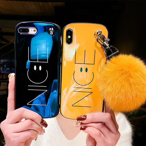 Blue-ray Nice Smile face Case +strap For iPhone 6-Xs max XR
